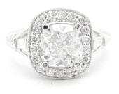 3.25ctw CUSHION cut split shank style diamond engagement ring 14k white gold FREE SHIPPING to u.s customers