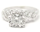 ROUND cut ANTIQUE style diamond engagement ring R163