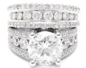 4.05ct round cut ANTIQUE STYLE diamond engagement ring & matching wedding band KR112