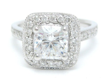 Cushion cut antique halo style diamond engagement ring 14k white gold