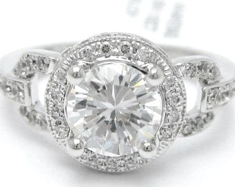 2CTW Round cut ANTIQUE STYLE diamond engaegment ring 14k white gold
