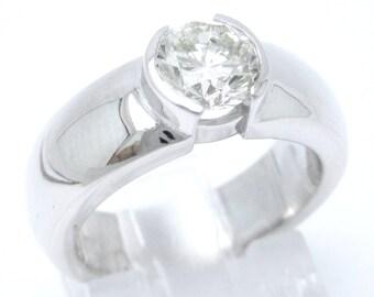 1ct round cut semi bezel solitaire diamond engagement ring 14k white gold