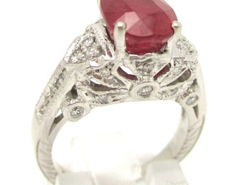Antique style oval cut red RUBY & Diamonds engagement ring Rub500