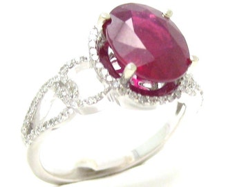 Oval cut rich RED RUBY & Diamonds engagement ring Rub900