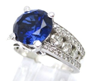 4.55tw ROUND cut medium blue SAPPHIRE & Diamonds engagement ring SA2400