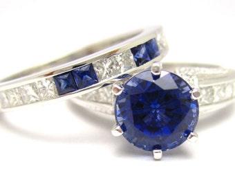 2.97ctw ROUND cutt medium blue SAPPHIRE & Diamonds engagement ring and band SA2100