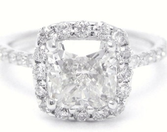 2.06ctw cushion cut diamond engagement ring with halo in 14k C11