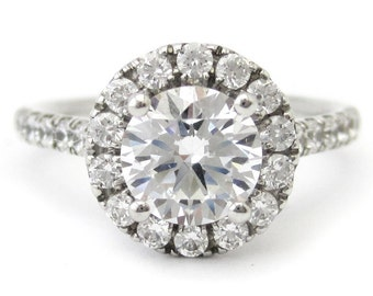 1.83ctw round cut antique style halo diamond engagement ring R179