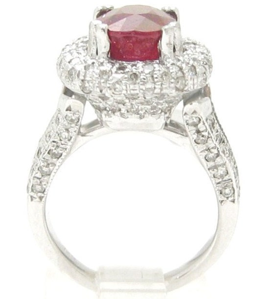 Antique style oval cut microwpave red RUBY & Diamonds engagement ring Rub600