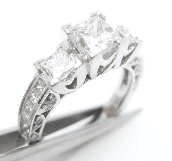 2.80ctw PRINCESS cut prong set TACORI style inspired diamond engagement ring 14k white gold
