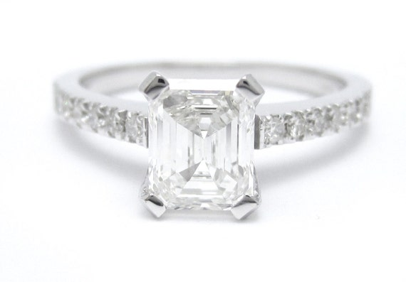 1.20ctw EMERALD cut pave diamond engagement ring 14k white gold