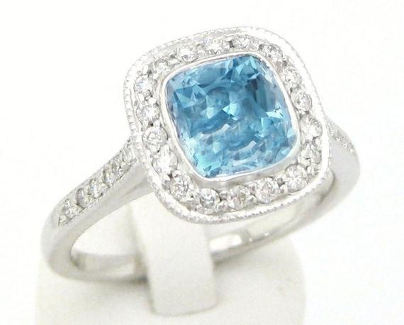 cushion cut antique style aquamarine diamonds engagement