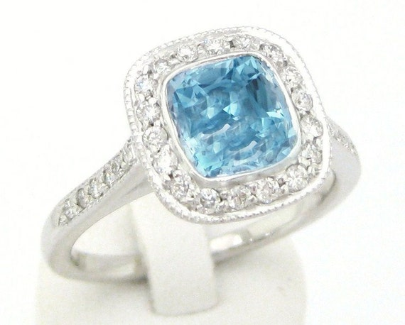Cushion cut antique style aquamarine & diamonds engagement ring AQ100
