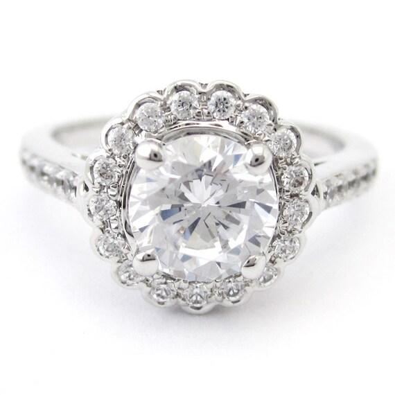 1.87ctw round cut antique style diamond engagement ring R184