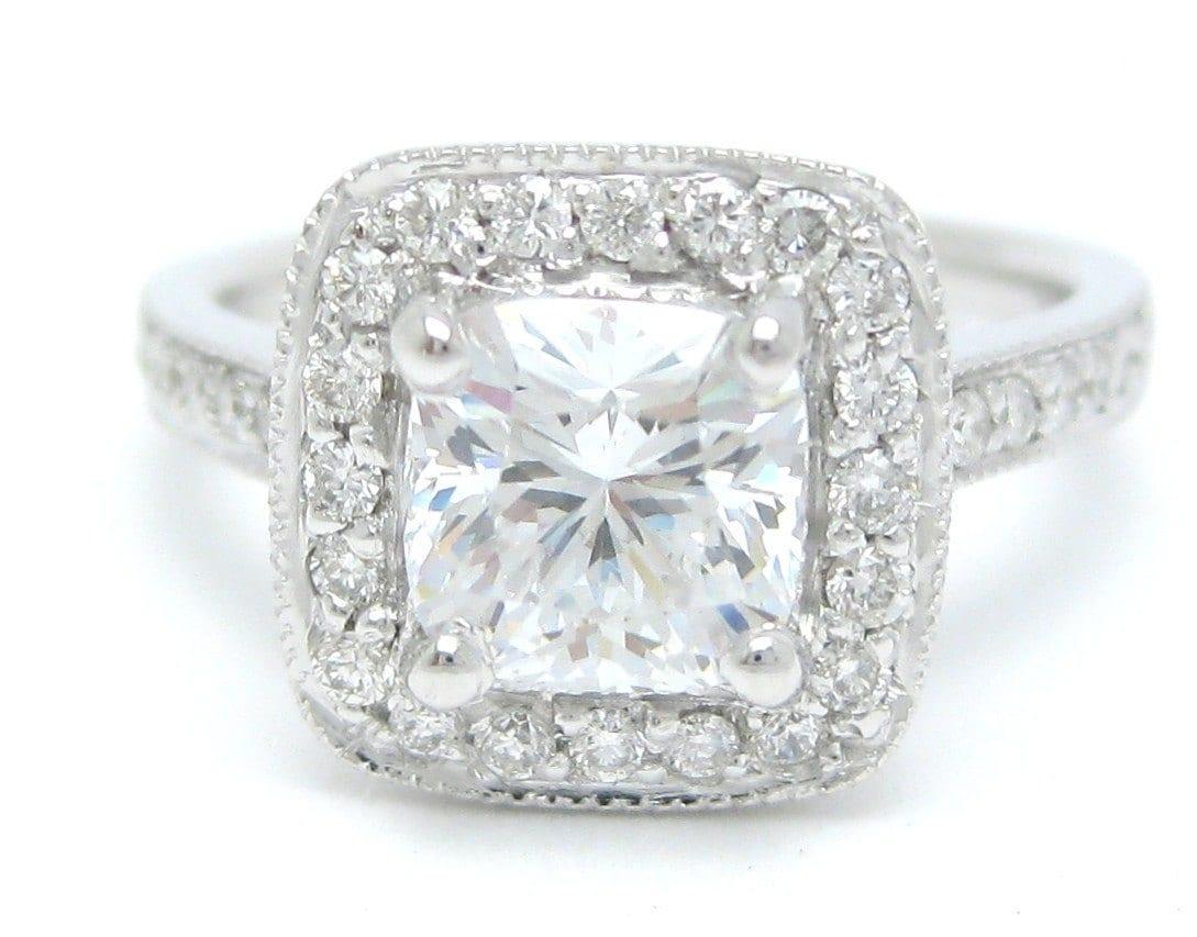 cushion cut antique halo style engagement ring 14k