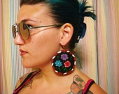 mexican folk art inspired hand painted big earrings BLACK floral red turquoise purple