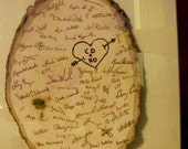 Large Natural Wood Wedding Guest Book/Memory Plaque, Wedding Gift with Shadow Box Frame