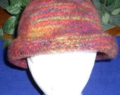 Autumn Colors for this  Ladies Handknit Felted Hat