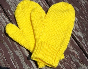 Bright Yellow Ladies Handknit Mittens