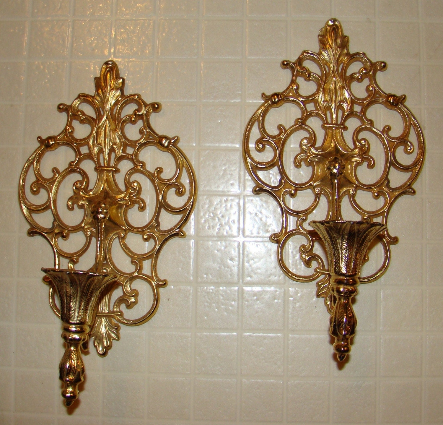 Metal Wall Sconces For Candles : Vintage Pair Ornate Gold Tone Metal Wall Sconces/Candle