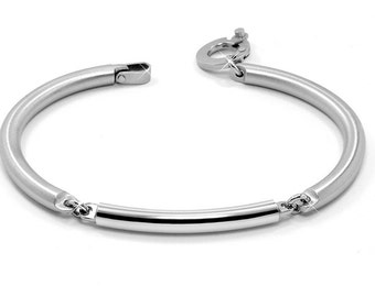 Mens Tube Link Bracelet Two Tone Stainless Steel