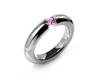 Pink Sapphire Tension Set Ring Stainless Steel
