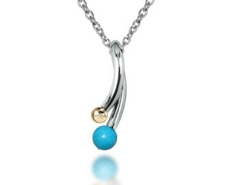 Turquoise and Gold Pendant in Stainless Steel
