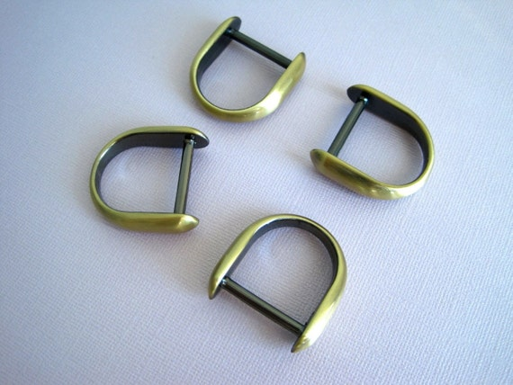4 Brass D-Rings Solid Diecast - 1 Inch