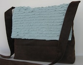 Messenger Bag in Brown and blue Ruffle