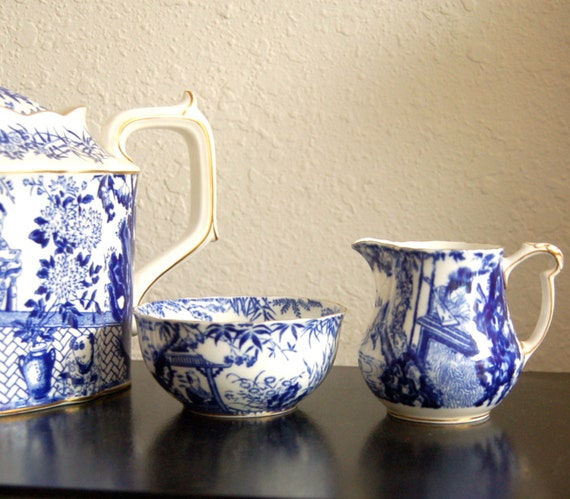 Vintage Blue & White Mikado Cream and Sugar Set, Royal Crown Derby