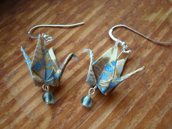 Blue Gray and Gold Paper Crane Earrings