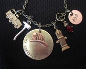 My Husband is my Hero  Firefighter Necklace in a Mixed Metal