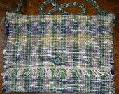 Rag Rug Messenger Bag, Handwoven - Navy, Gold, Green (Inv. ID 25-0790)