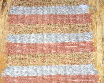 Handwoven Shaggy Rag Rug Hallway Runner, RECYCLED MATERIAL - Rust, Grey Mix (Inv. ID 15-0661)