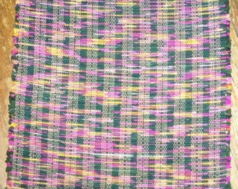 Handwoven Rag Rug - Dark Green, Fuschia, Gold (Inv. Id 10-0661)