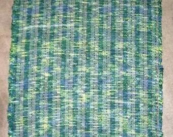Rag Rug, Handwoven - Green on Green (Inv. ID 14-0661)