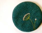 Felted Hot Pad - Turquoise Wool with Queen Anne's Lace