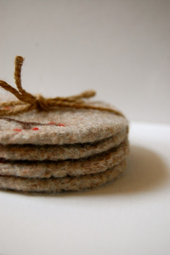 Felted Wool Coasters, Set of Four, Branch and Berry in Light Gray