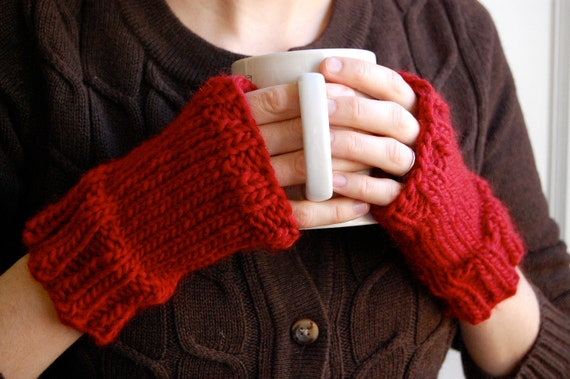 Red Fingerless Mittens, Hand Knit in Wool