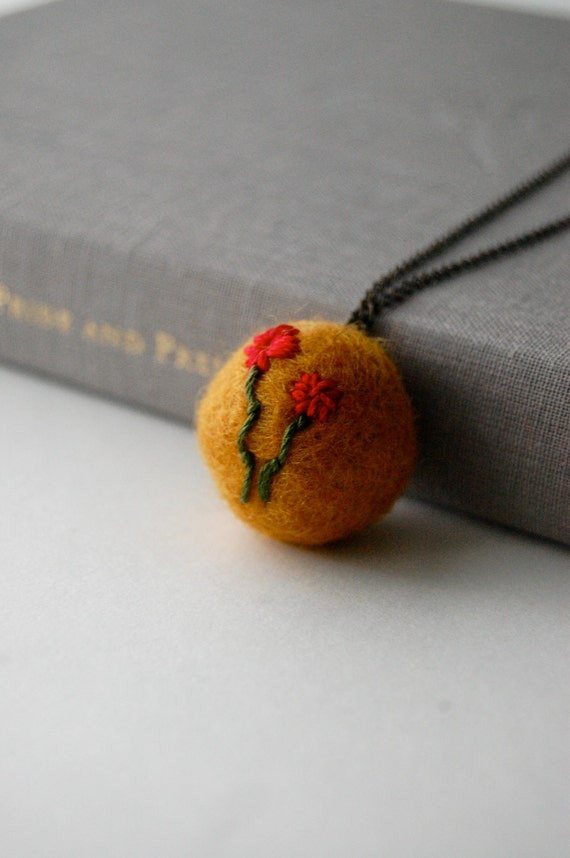 Yellow Felt Necklace with Red Flower Embroidery