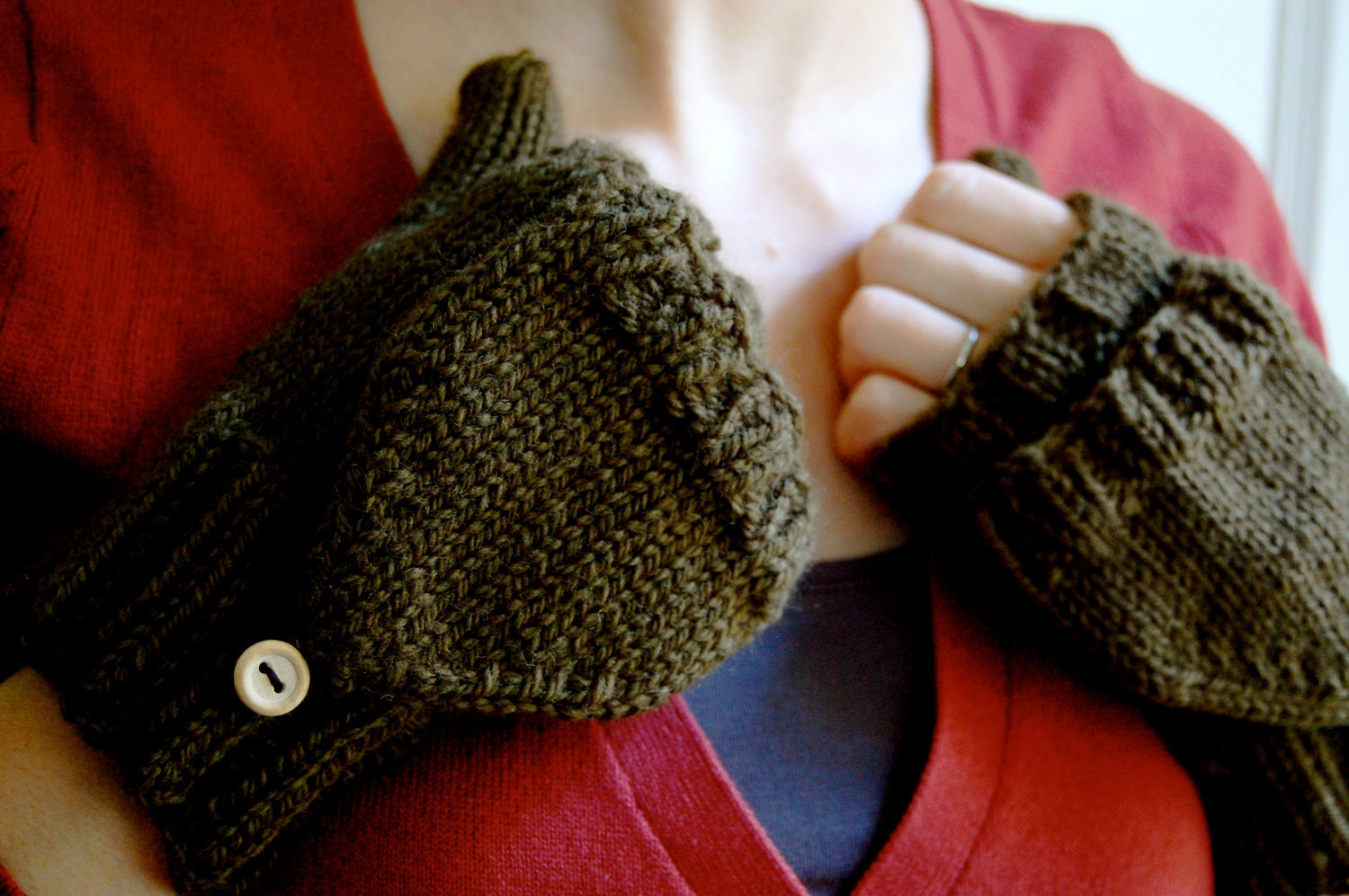 Convertible Mittens Knit Fingerless with Flap in Olive Green