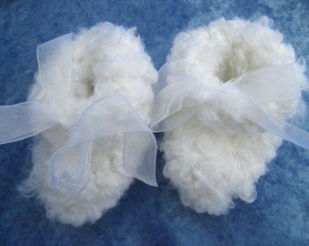 Fluffy Cloud Booties (size 0-6 months)-- Pure White