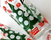 Vintage Drinking Glasses Christmas Holiday Tumblers Tree Set of Two 1960s