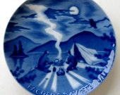 Vintage Fathers Day Plate Royale Blue Winter White Germany Limited Edition1970s