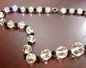 Vintage Necklace Crystal Glass Faceted White and Black Bead 1950s