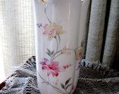 Vintage Flower Vase Oriental Asian  Fine China Japan Floral Lily Coral Yellow Pink