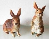 Vintage Bunny Figurine Rabbit Lefton Brown White Set of Two 1960s