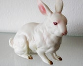 Vintage Rabbit Figurine Bunny Lefton Pink White Sitting 1960s