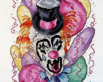 Clown Wall Hanging Wall Art Needlework Embroidery Counted Cross Stitch Framed