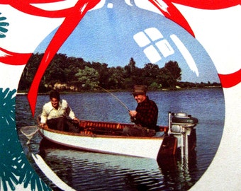 Vintage Boat Collectible Evinrude Outboard Boat Motor Ad Christmas Boating 1940s